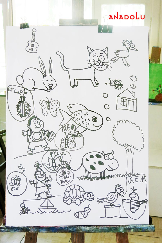 Çocuklarla Karakalem Çalışmaları Konyada