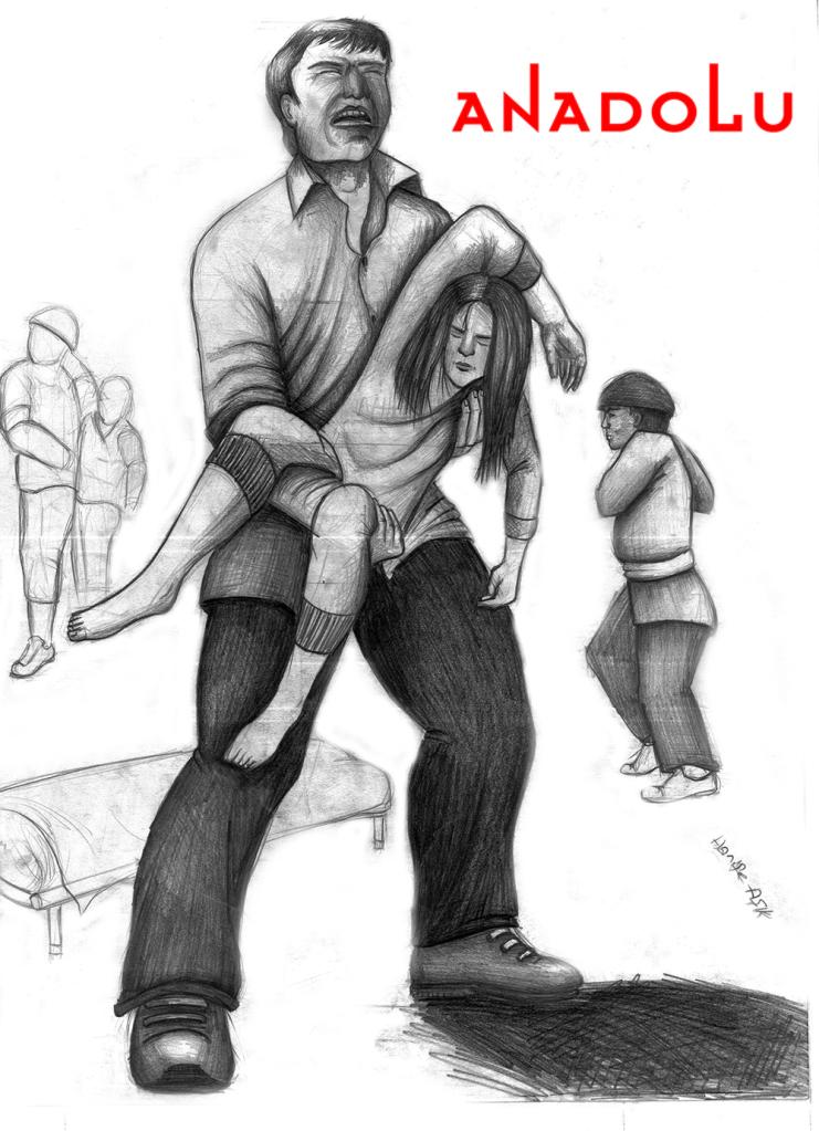 Konyada karakalem babası ve kızı