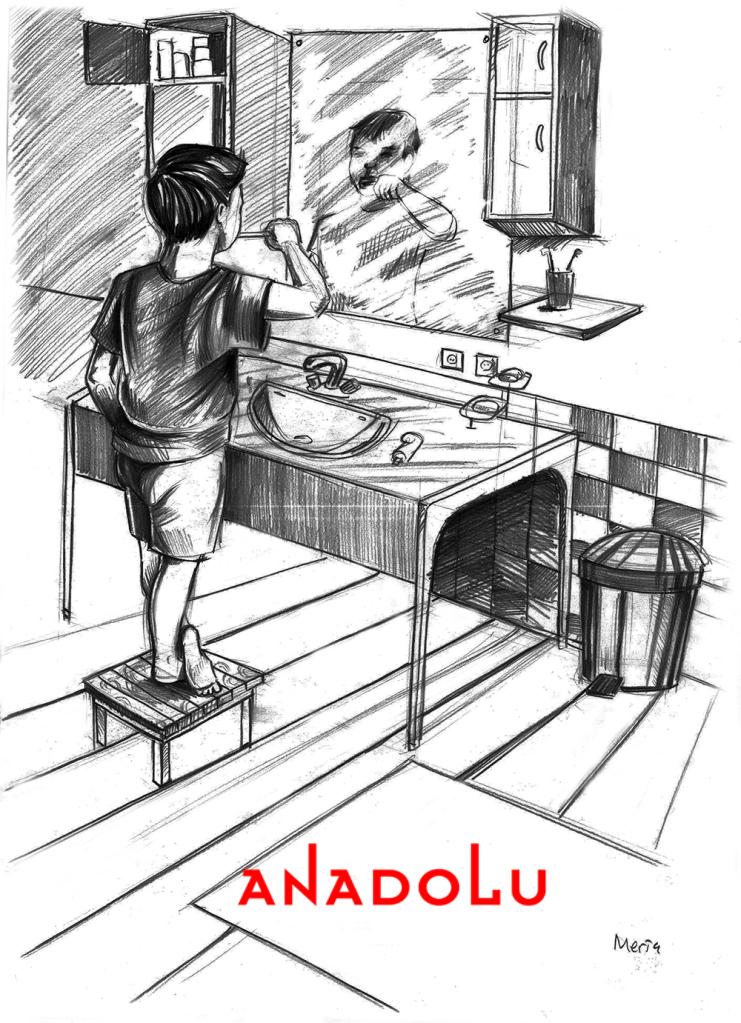 Karakalem Diş Fırçalayın Çocuk Çizimleri Konyada