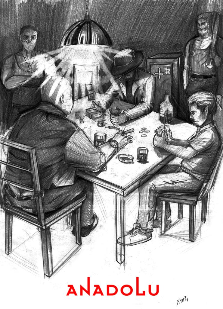 İmgesel karakalem kahvede oyun oynayanlar Konyada