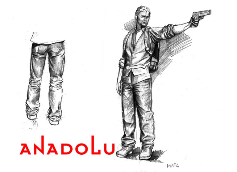 Karakalem Silahlı Atış Yapan İnsan Çizimleri Konyada