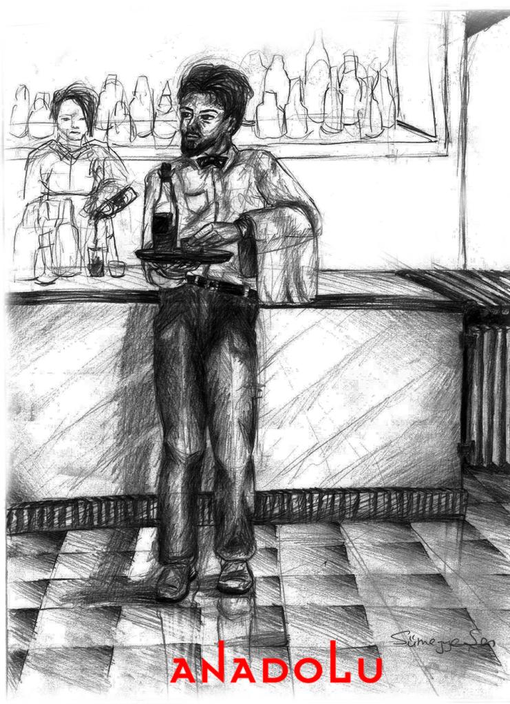 Karakalem Garson Çizim Örneği Konyada