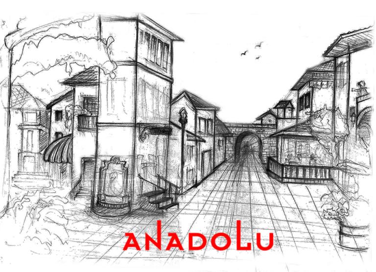 Karakalem Bir Sokak İmgesel Çizim Örneği Konyada